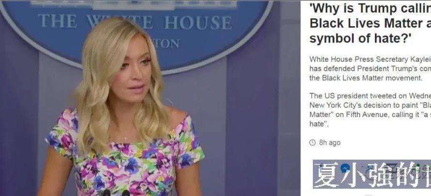 白宮發言人凱萊:黑命貴就是種族仇恨的象徵!川普總統說得沒錯…