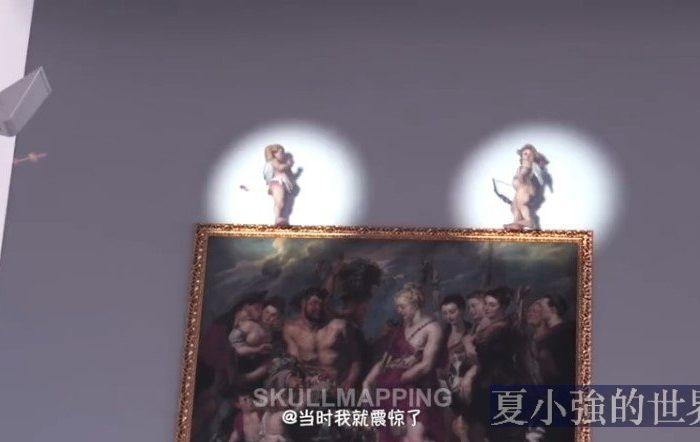 油畫裡的丘比特突然復活,飄蕩在各幅畫作之間(視頻)