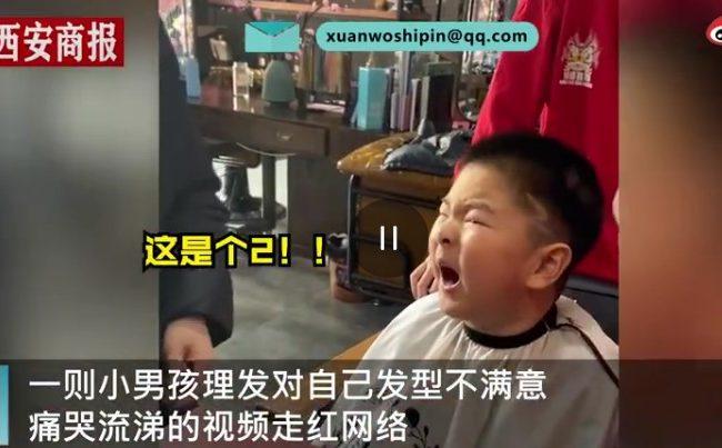 小男孩理發崩潰痛哭:我要的是閃電不是2(視頻)