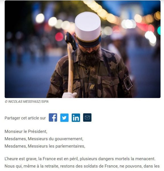 法國將退役軍人的公開信,抬頭是寫給總統的
