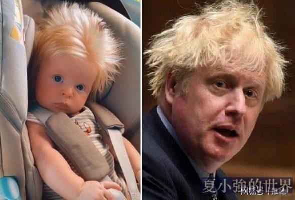 黑髮父母,生下一個金髮碧眼的大拖把,被比作英國首相