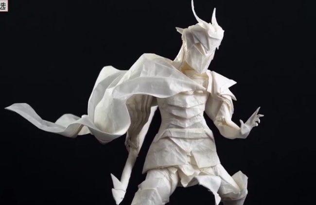 高手!全程不撕不剪,只靠摺紙製作了一個細節滿滿的槍兵模型(視頻)